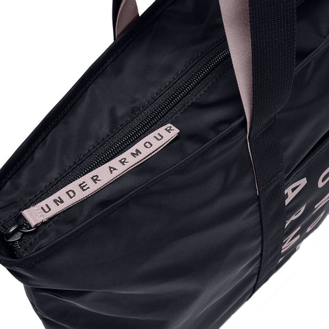 UNDER ARMOUR WOMEN'S METALLIC FAVORITE TOTE 2.0 BLACK/DASH PINK CLOSE UP