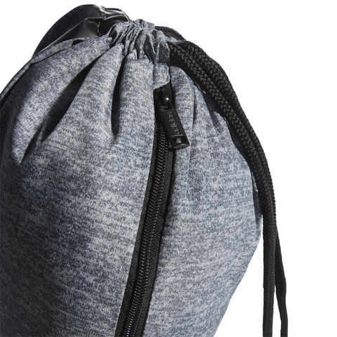 ADIDAS COURT LITE SACKPACK ONIX JERSEY/BLACK CLOSE UP OF ZIPPER