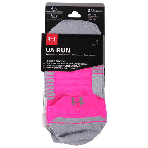 UNDER ARMOUR WOMEN'S RUN 2.0 NO SHOW TAB 2 PACK MEDIUM MOJO PINK