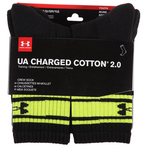 UNDER ARMOUR YOUTH CHARGED COTTON 2.0 CREW 6 PACK LARGE BLACK/HI VIS STRIP