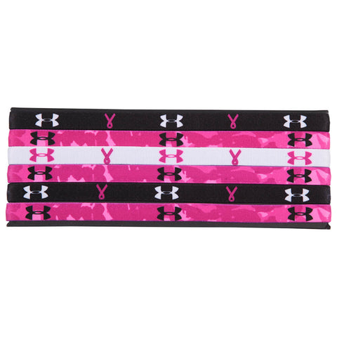 UNDER ARMOUR PIP GRAPHIC MINI HEADBANDS 6 PACK PINK