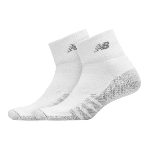 NEW BALANCE MEN'S COOLMAX QUARTER 2 PAIR LARGE WHITE SOCKS