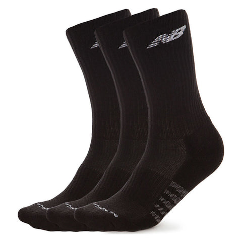 NEW BALANCE MEN'S CORE CREW 3 PAIR LARGE BLACK SOCKS