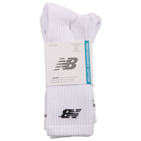 NEW BALANCE MEN'S CORE CREW 3 PAIR LARGE WHITE SOCKS