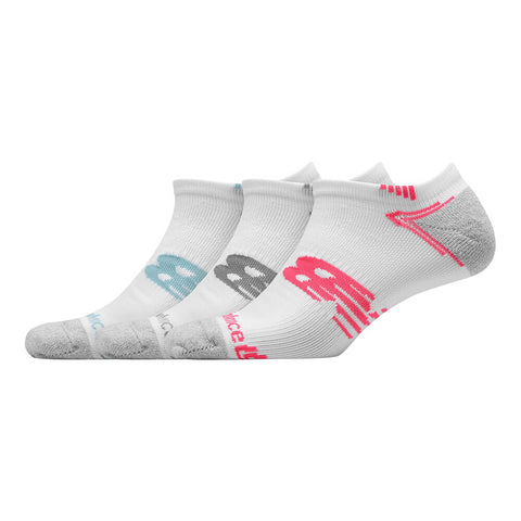 NEW BALANCE WOMEN'S RUN NO SHOW 3 PAIR MEDIUM WHITE SOCKS