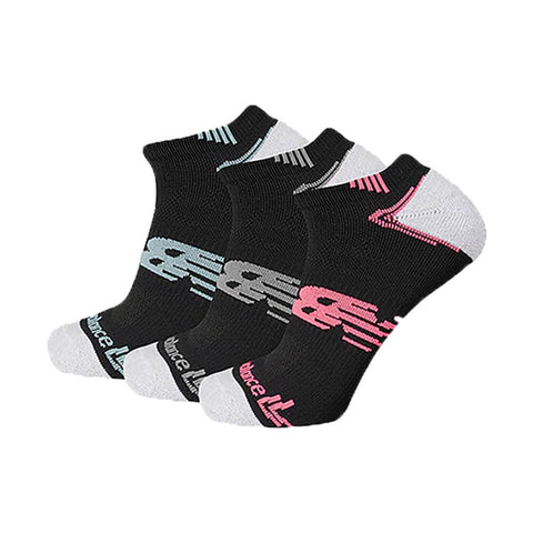 NEW BALANCE WOMENS RUN NO SHOW 3 PAIR MEDIUM BLACK SOCKS