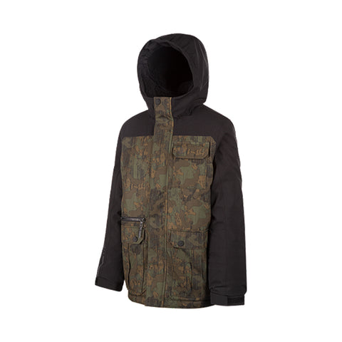 RIPZONE BOYS RALLEY INSULATED JACKET BLACK/BROWN CAMO