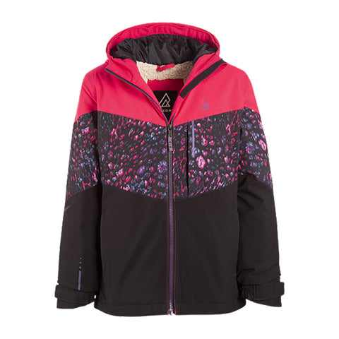 RIPZONE GIRLS SHAKEY INSULATED JACKET RASPBERRY/LEOPARD/BLACK FRONT