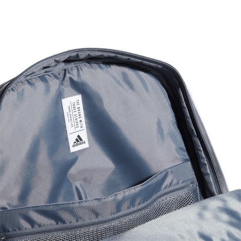 ADIDAS LEAGUE 3 STRIPE BACKPACK LIGHT GREY CLOSE UP
