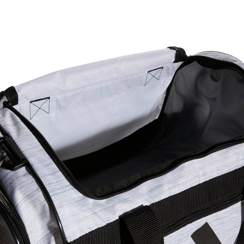 ADIDAS DEFENDER III SMALL DUFFEL WHITE CLOSE UP