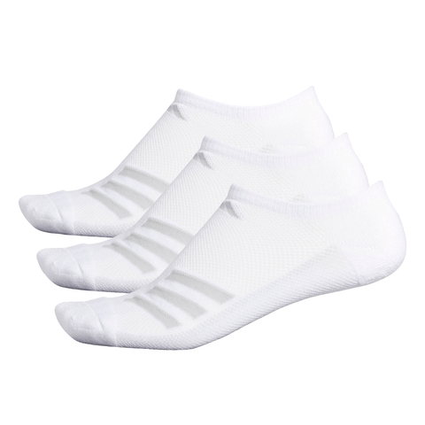 ADIDAS MEN'S STRIPE 3-PACK NO SHOW WHITE