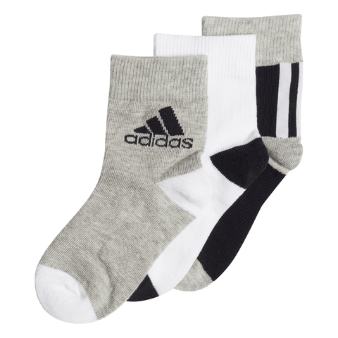 ADIDAS ANKLE SOCKS BLACK/WHITE/MEDIUM GREY HEATHER