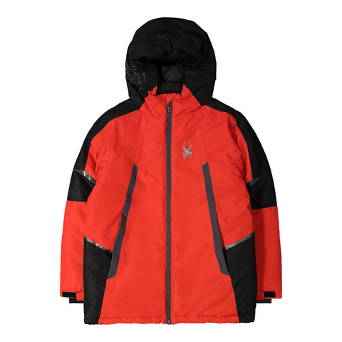 SPYDER BOY'S INSULATED SKI JACKET RED/BLACK