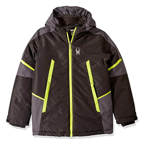 SPYDER BOY'S INSULATED SKI JACKET BLACK/LIME