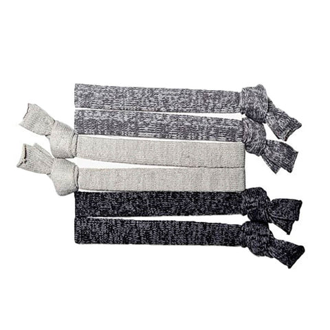 EYE CANDY SOPHI 6 PACK YOGA HAIR TIES GREY/BLACK