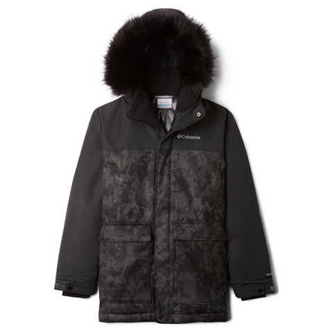 COLUMBIA BOYS BOUNDARY BAY DOWN PARKA BLACK TRAD CAMO