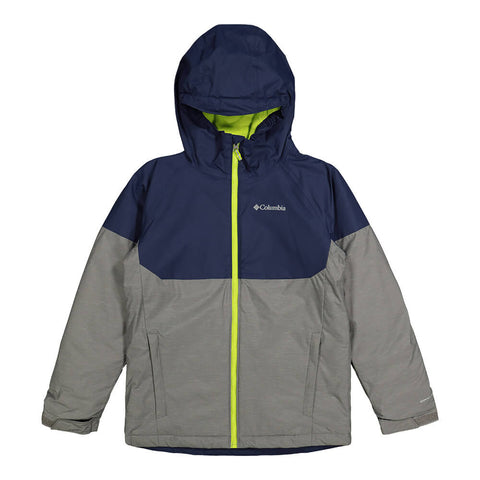 COLUMBIA BOYS ALPINE ACTION II OMNI HEAT JACKET GREY HEATHER/NAVY