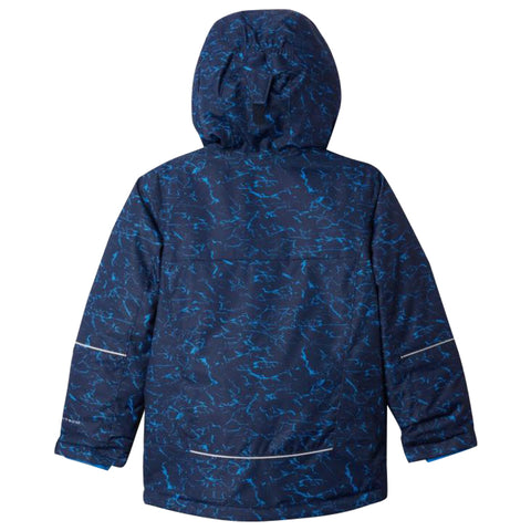 COLUMBIA BOYS MIGHTY MOGUL OMNI HEAT JACKET NAVY CRACKLE PRINT
