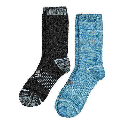 COLUMBIA WOMEN'S SPACEDYE CREW 9-11 2 PACK SOCKS FJORD BLUE/BLACK