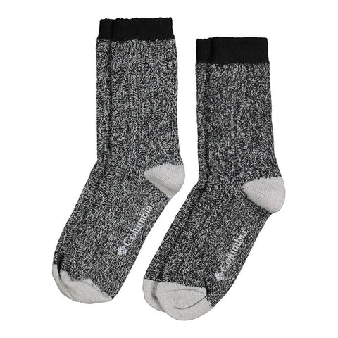 COLUMBIA WOMEN'S SUPERSOFT CABLE CREW 4-10 2 PACK SOCKS BLACK