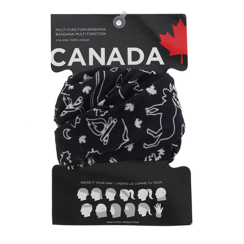 GREAT NORTHERN CANADA BANDANA BUFF BLACK PACKAGED