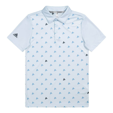 ADIDAS BOYS GOLF TOP LIGHT BLUE