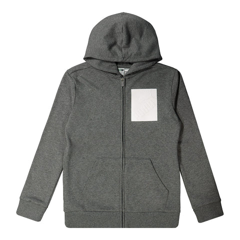 PUMA BOYS AMPLIFIED PACK FLEECE ZIP UP HOODIE CHARCOAL