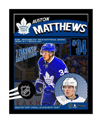 FRAMEWORTH TORONTO MAPLE LEAFS 16X20 MATTHEWS COMIC PLAQUE