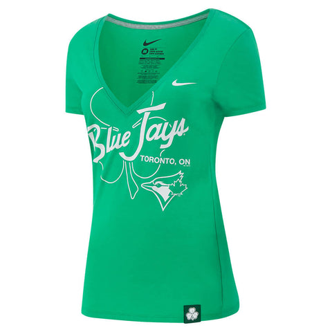NIKE WOMEN'S TORONTO BLUE JAYS ST. PATS DEEP V BLEND SHORT SLEEVE TOP