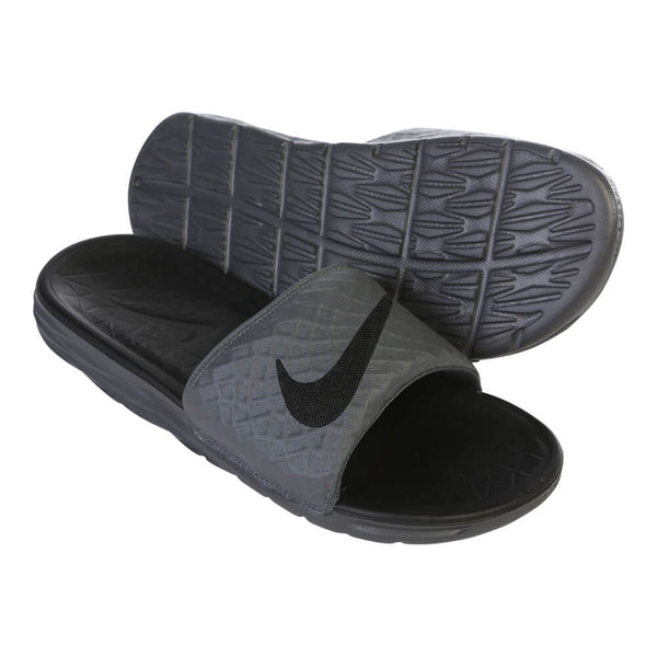 24093a113e728b NIKE MEN S BENASSI SOLARSOFT SLIDE 2 DARK GREY BLACK – National Sports