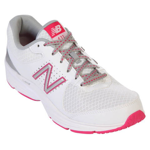 NEW BALANCE WOMEN'S WW411 V2 WALKING SHOE WHITE/PINK