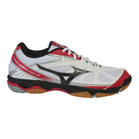 MIZUNO MEN'S WAVE HURRICANE 2 COURT SHOE WHITE/BLACK