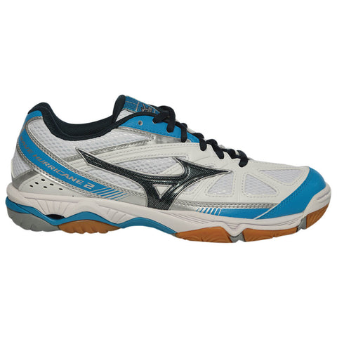 MIZUNO WOMEN'S WAVE HURRICANE 2 COURT SHOE WHITE/NAVY