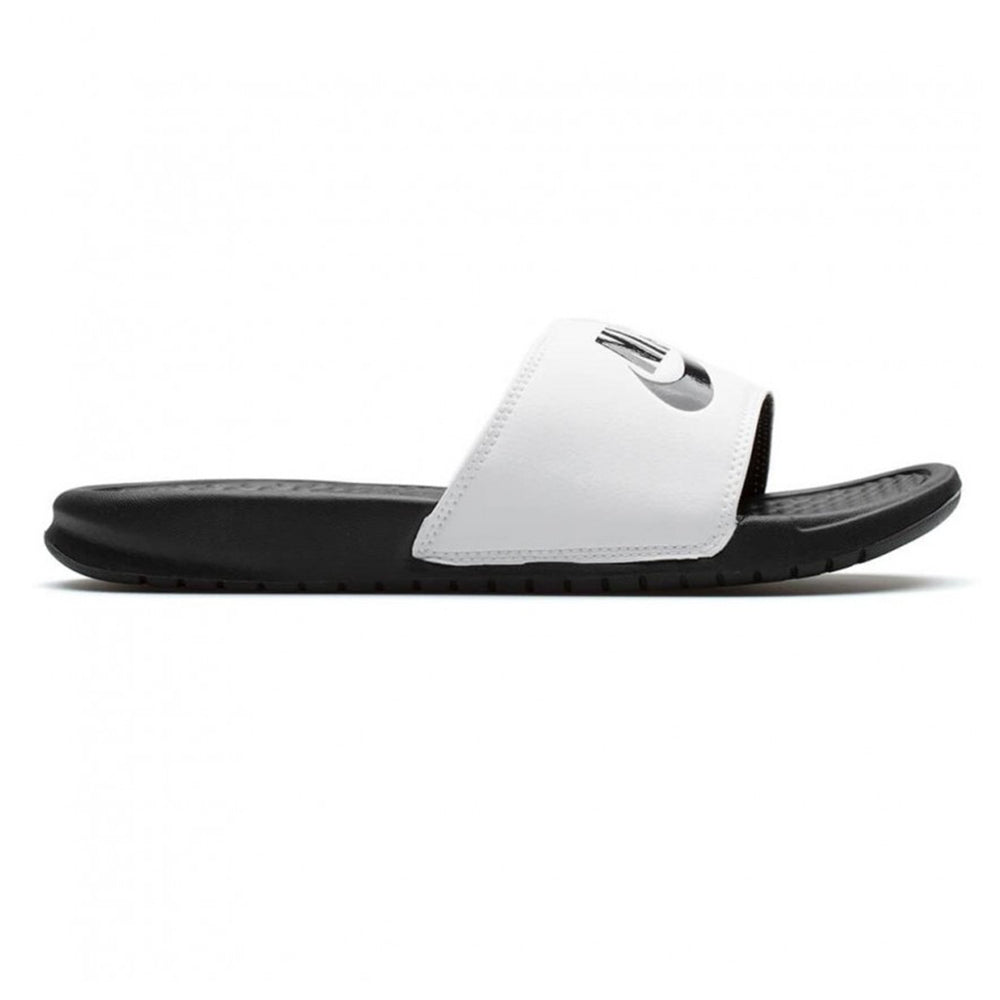 NIKE MEN S BENASSI   JUST DO IT   SLIDE WHITE BLACK – National Sports 664b542d3