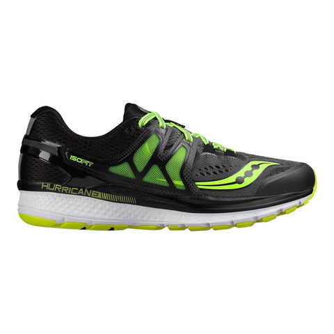 SAUCONY MEN'S HURRICANE ISO 3 RUNNING SHOE GREY/BLACK/CITRON