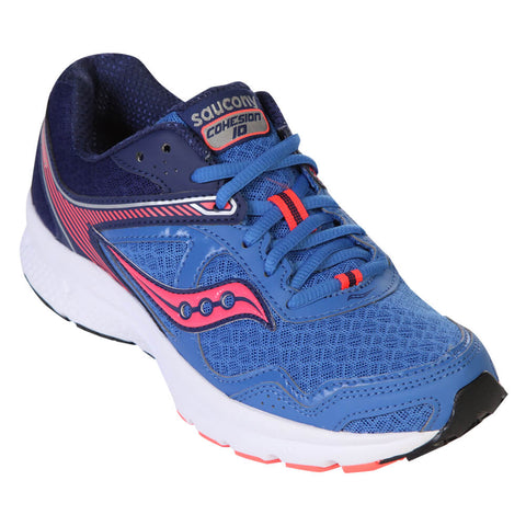 SAUCONY WOMEN'S COHESION 10 RUNNING SHOE BLUE/CORAL