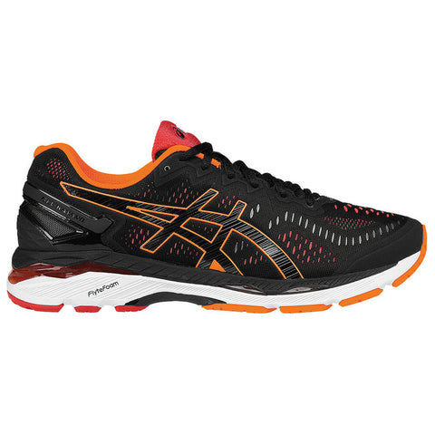 ASICS MEN'S GEL KAYANO 23 RUNNING SHOE BLACK/ORANGE/VERMILION