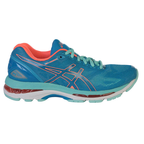 ASICS WOMEN'S GEL NIMBUS 19 RUNNING SHOE BLUE/CORAL/AQUA