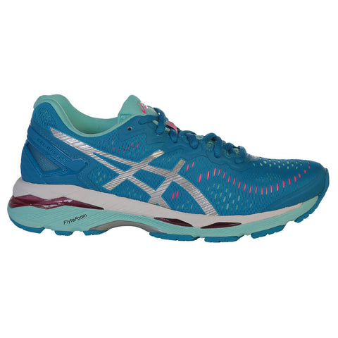 b96c9eb60a0 ASICS WOMEN S GEL KAYANO 23 RUNNING SHOE BLUE SILVER AQUA