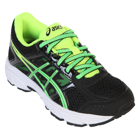 ASICS BOYS GRADE SCHOOL CONTEND 4 JUNIOR SHOE BLACK/GREEN/YELLOW