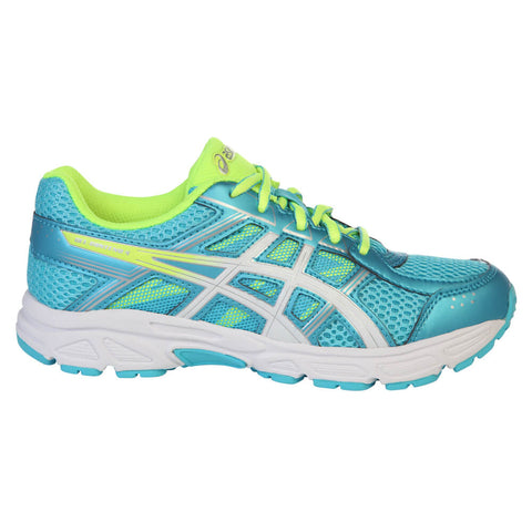 ASICS GIRLS GRADE SCHOOL GEL CONTEND 4 JUNIOR SHOE AQUARIUM/WHITE/YELLOW