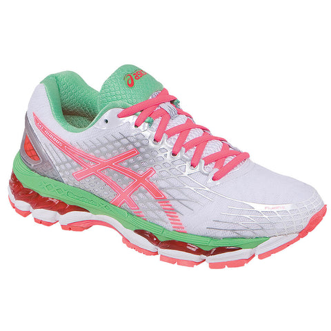 ASICS WOMEN'S GEL NIMBUS 17 RUNNING SHOE WHITE/CORAL/APPLE