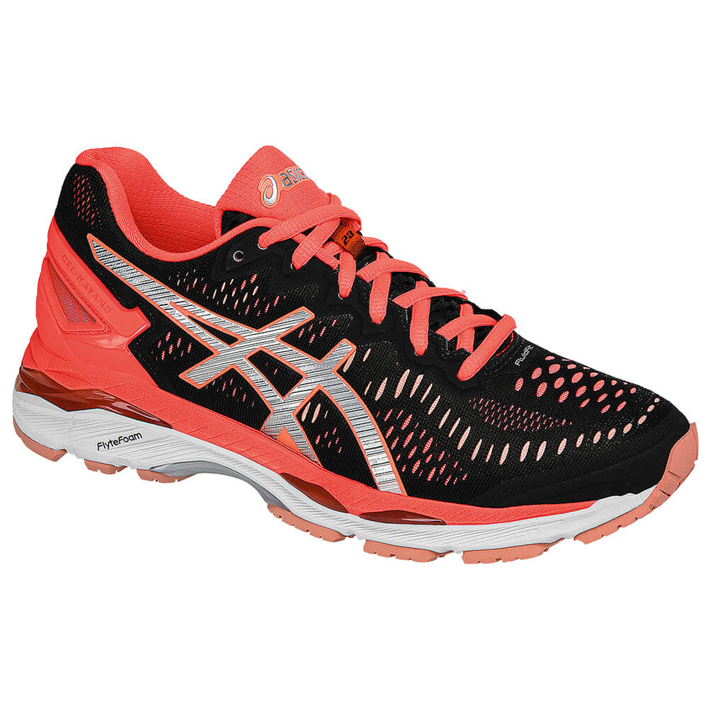 huge selection of afff6 ccd1e ASICS WOMEN'S GEL KAYANO 23 RUNNING SHOE BLACK/SILVER/FLASH CORAL