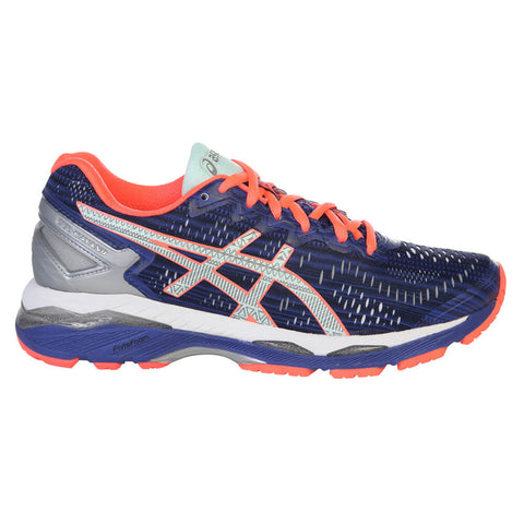 ASICS WOMEN'S GEL KAYANO 23 LITE SHOW RUNNING SHOE BLUE/SILVER/FLASH CORAL