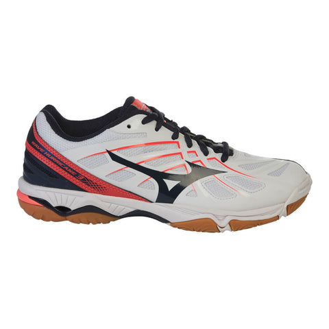 MIZUNO WOMEN'S WAVE HURRICANE 3 COURT SHOE WHITE/NAVY/CORAL