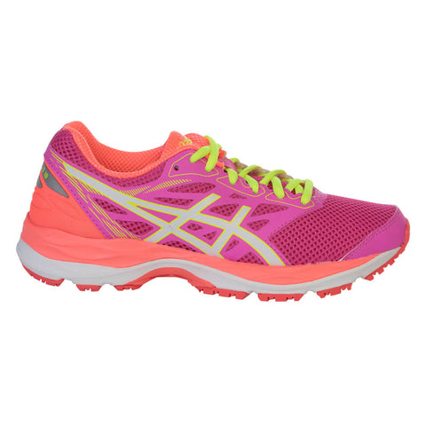 ASICS GIRLS GRADE SCHOOL GEL CUMULUS 18 JUNIOR SHOE PINK GLOW/WHITE/FLASH CORAL
