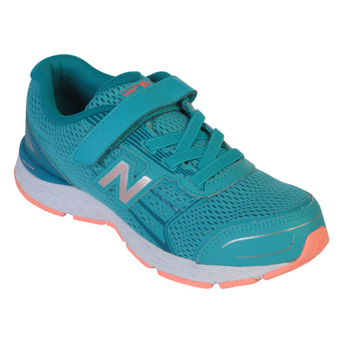 NEW BALANCE GIRLS PRE-SCHOOL KA680V5 KIDS SHOE BLUE/CORAL