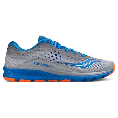 f059f62bac57 SAUCONY MEN S KINVARA 8 RUNNING SHOE GREY BLUE ORANGE