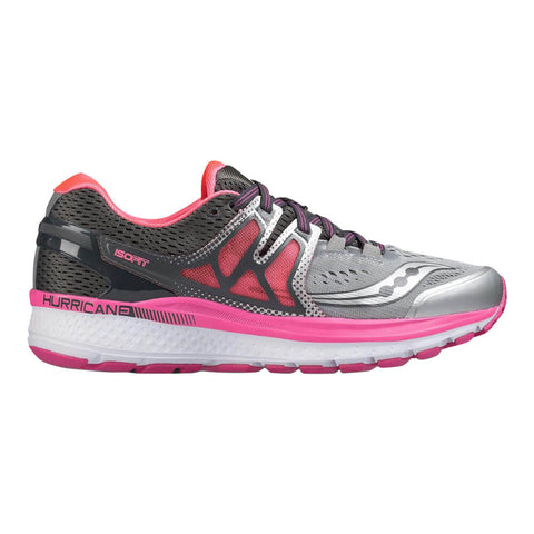 SAUCONY WOMEN'S HURRICANE ISO 3 RUNNING SHOE GREY/PINK/WHITE