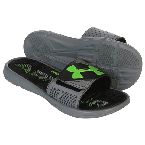UNDER ARMOUR MEN'S MERCENARY VIII SLIDE STEEL/BLACK